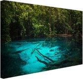Helderblauw meer in de jungle Canvas 30x20 cm - klein - Foto print op Canvas schilderij (Wanddecoratie woonkamer / slaapkamer)