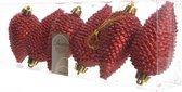 Dennenappels Glitter (8cm) Multi 6 Stuks Christmas Red