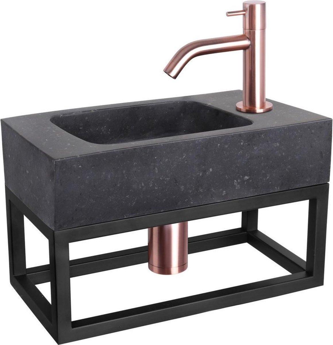 Differnz Fonteinset Bombai black - Natuursteen - Kraan gebogen rood koper - Met handdoekrek - 40 x 22 x 9 cm