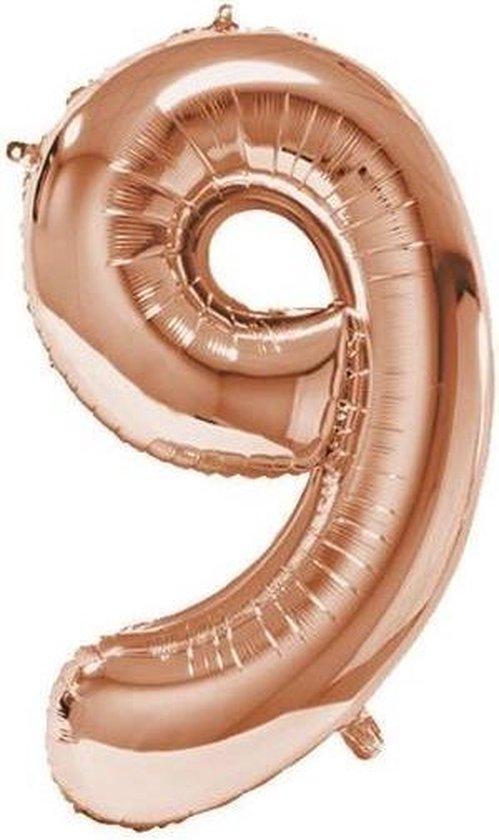 """Haza Original Folieballon Cijfer """"9"""" 92 Cm Aluminium Rosé Goud"""