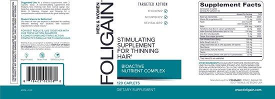 Foligain Haargroei Capsules - Supplement tegen Haaruitval - Voor Langer, Gezonder en Dikker Haar - Hair Vitamins - 120 stuks