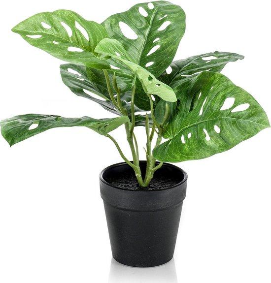 Monstera Kunstplant - Monkey Leaf Kunst - Incl. decoratieve zwarte pot - ↑ 29 cm - Ø9,5cm