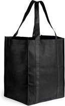 Boodschappen tassen/shoppers zwart 38 cm - Stevige boodschappentassen/shoppers