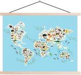 Wereldkaart met dieren voor kinderen schoolplaat platte latten blank 60x45 cm - Foto print op textielposter (wanddecoratie woonkamer/slaapkamer)