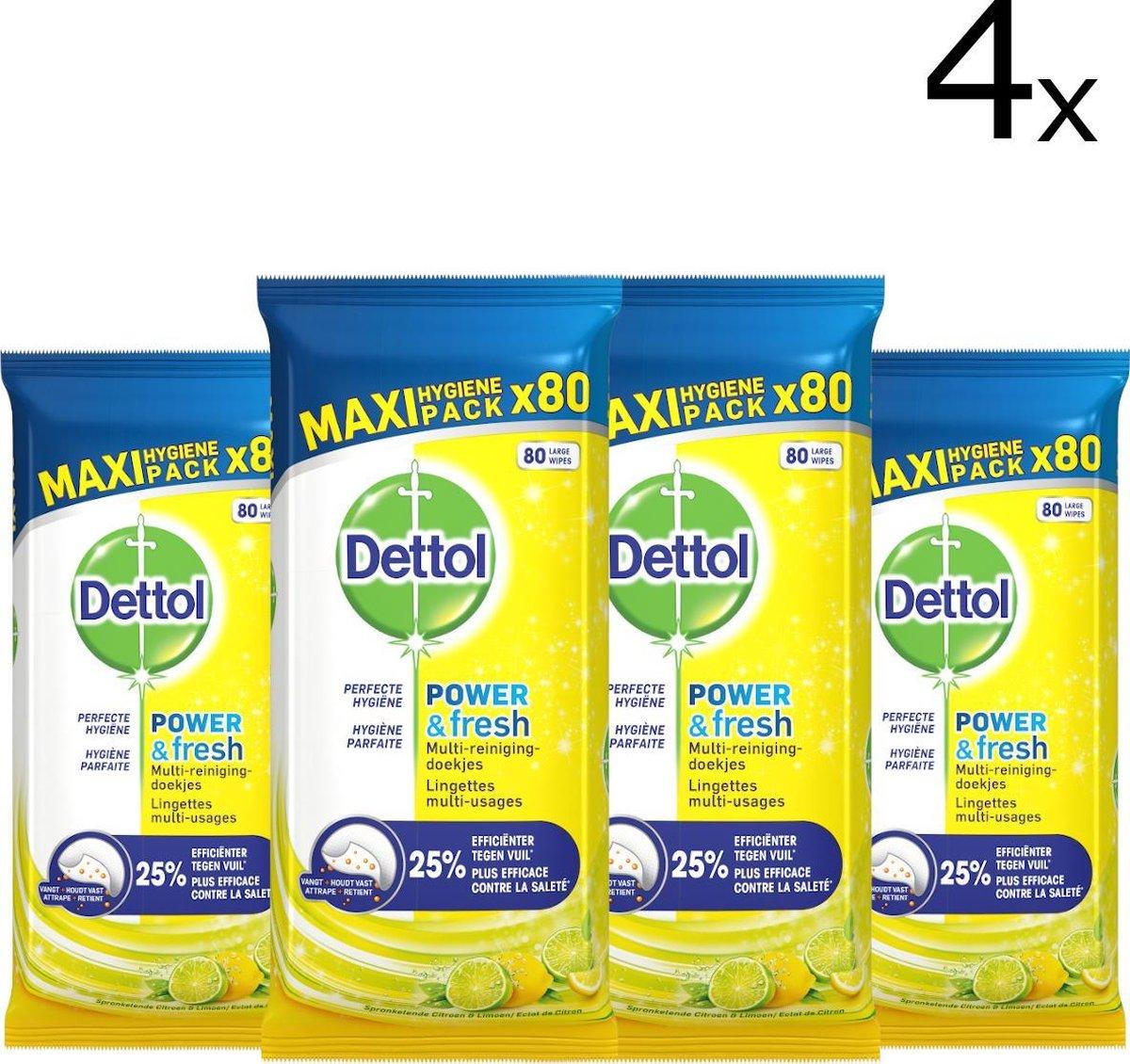 Dettol Power & Fresh - Schoonmaakdoekjes - Citrus - 4 x 80 doekjes
