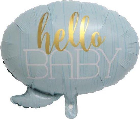 Hello-Baby-Spreekwolkje-Blauw-Ballon