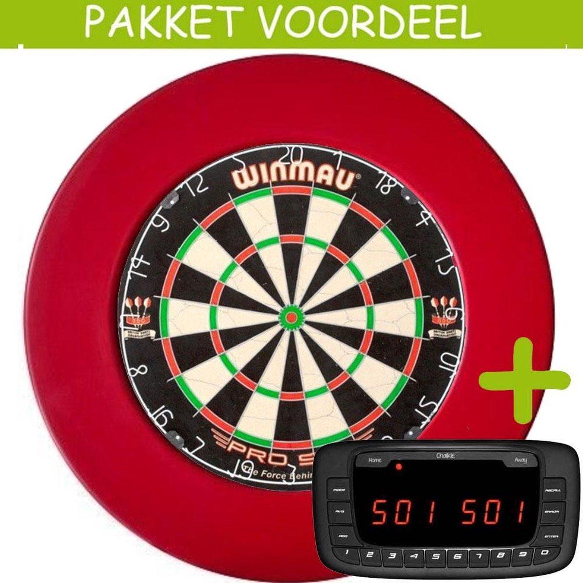 Elektronisch Dart Scorebord VoordeelPakket (Chalkie ) - Pro SFB - Rubberen Surround (Rood)