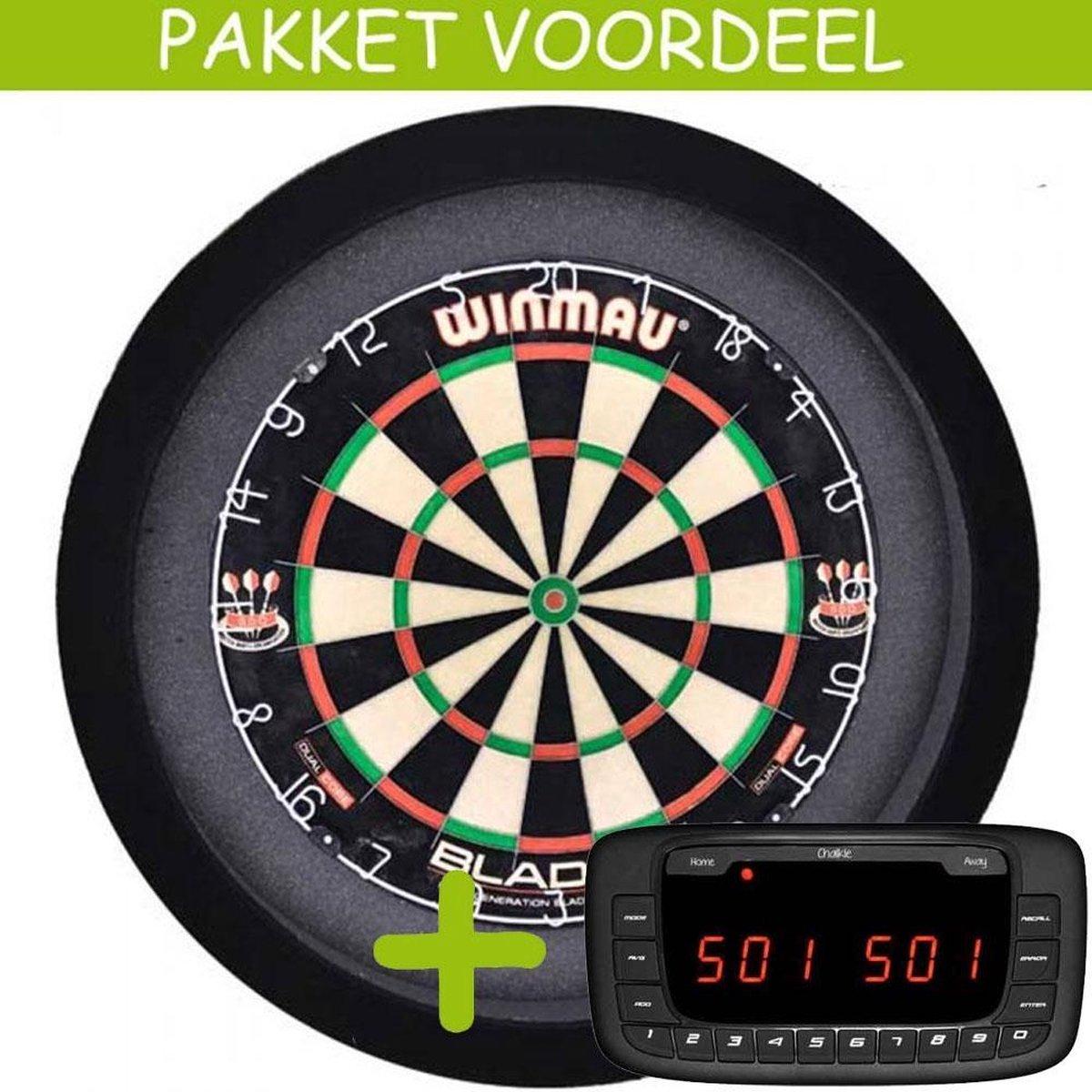 Elektronisch Dart Scorebord VoordeelPakket (Chalkie ) - Blade 5 - Dartbordverlichting Basic (Zwart)