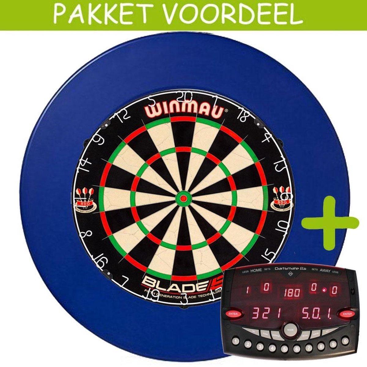 Elektronisch Dart Scorebord VoordeelPakket (Elite ) - Blade 5 - Rubberen Surround (Blauw)