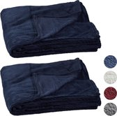 relaxdays 2 x fleece deken groot - plaid – woondeken - grand foulard 150x200 – donkerblauw
