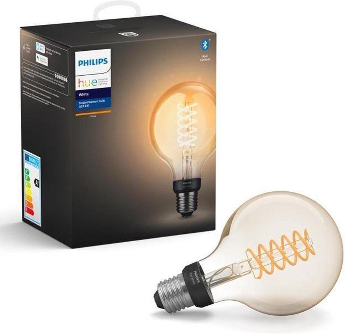 Philips Hue Slimme Verlichting Filamentlamp G93 Globe -   9,5 cm - White - E27 - Bluetooth