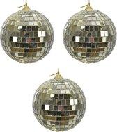 4x Gouden disco spiegelballen kerstballen 8 cm - Kerstboomversiering/kerstversiering discobollen/discoballen