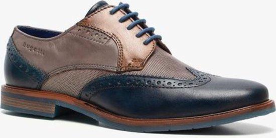 Bugatti leren heren veterschoenen - Blauw - Maat 43