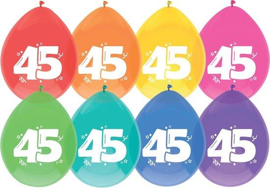"""Haza Original Ballonnen Multicolor Met Opdruk """"45"""" 30 Cm 8 Stuks"""
