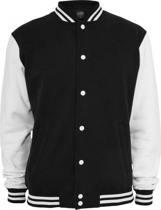 Urban Classics 2-Tone College Sweatjacket Zwart/Wit 5XL