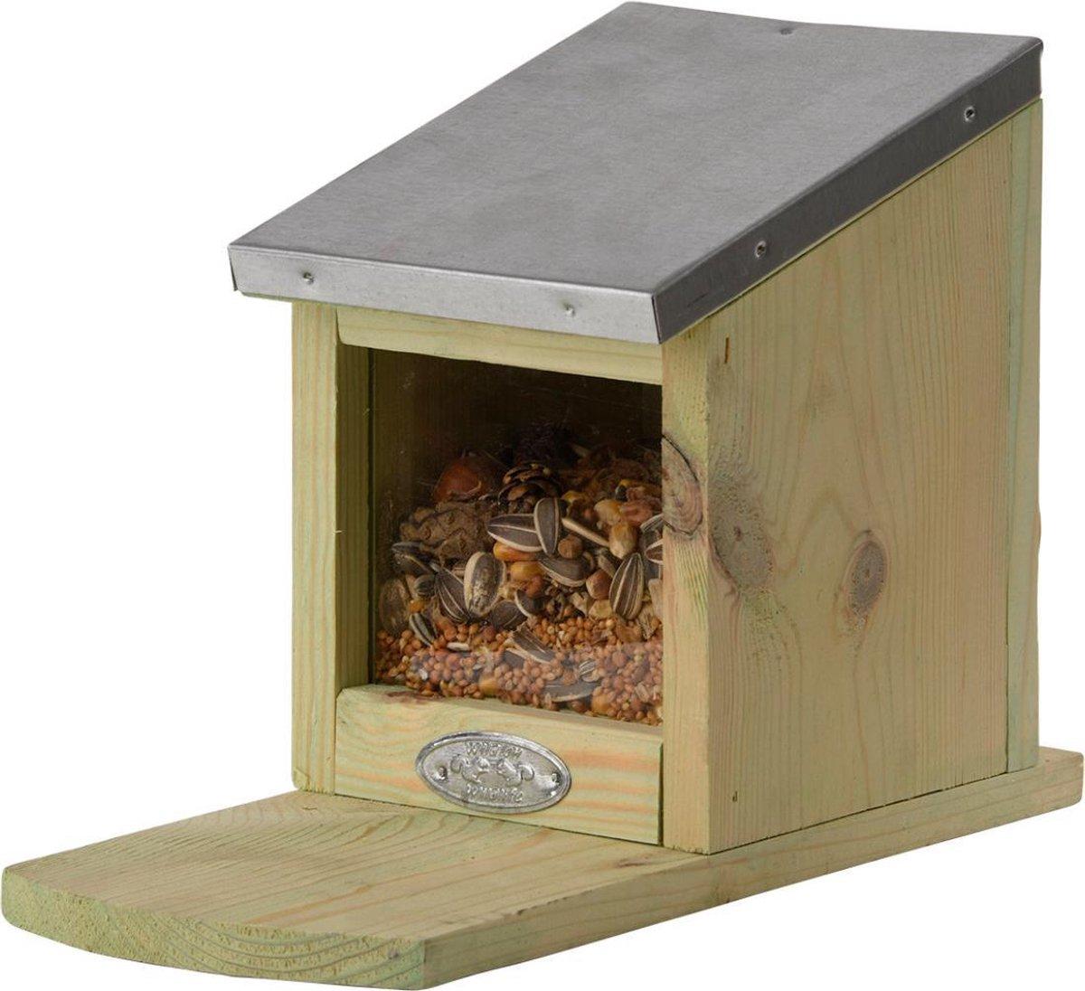 Houten Eekhoorn voederhuis 17 cm - Woonhuisjes voor eekhoorns
