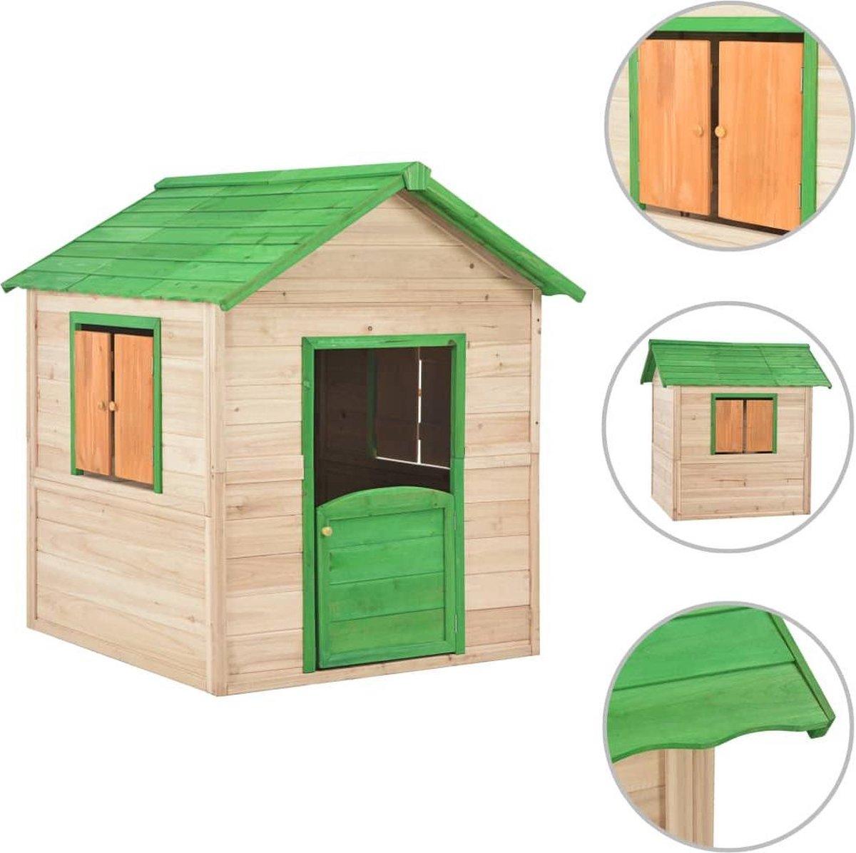 vidaXL Kinderspeelhuis vurenhout groen
