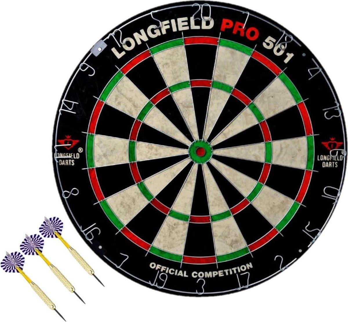 Dartbord set compleet van diameter 45.5 cm met 3x dartpijlen van 23 gram - Longfield professional - Darten