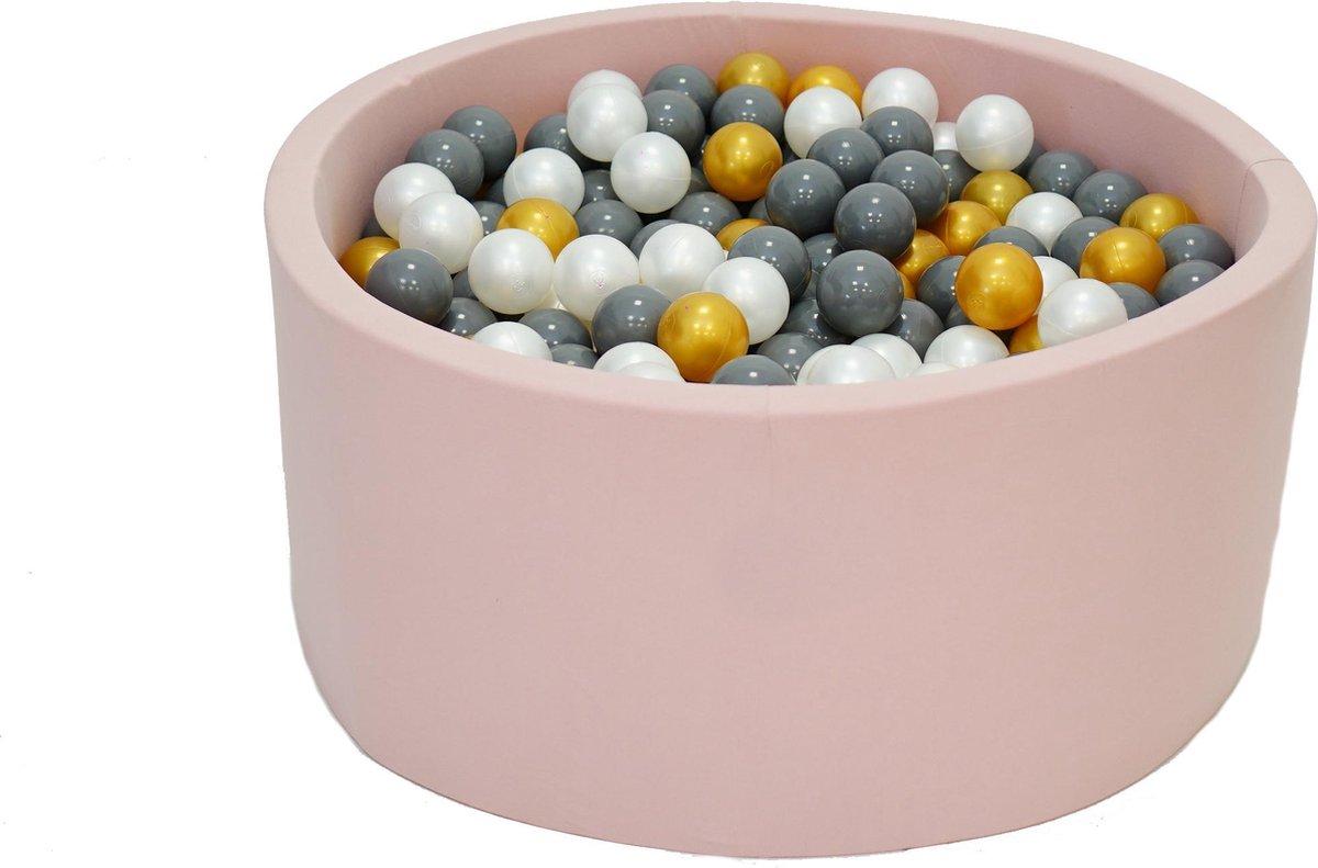 Ballenbak Roze 90x40 met 250 ballen Parel, Goud, Grijs Zwart