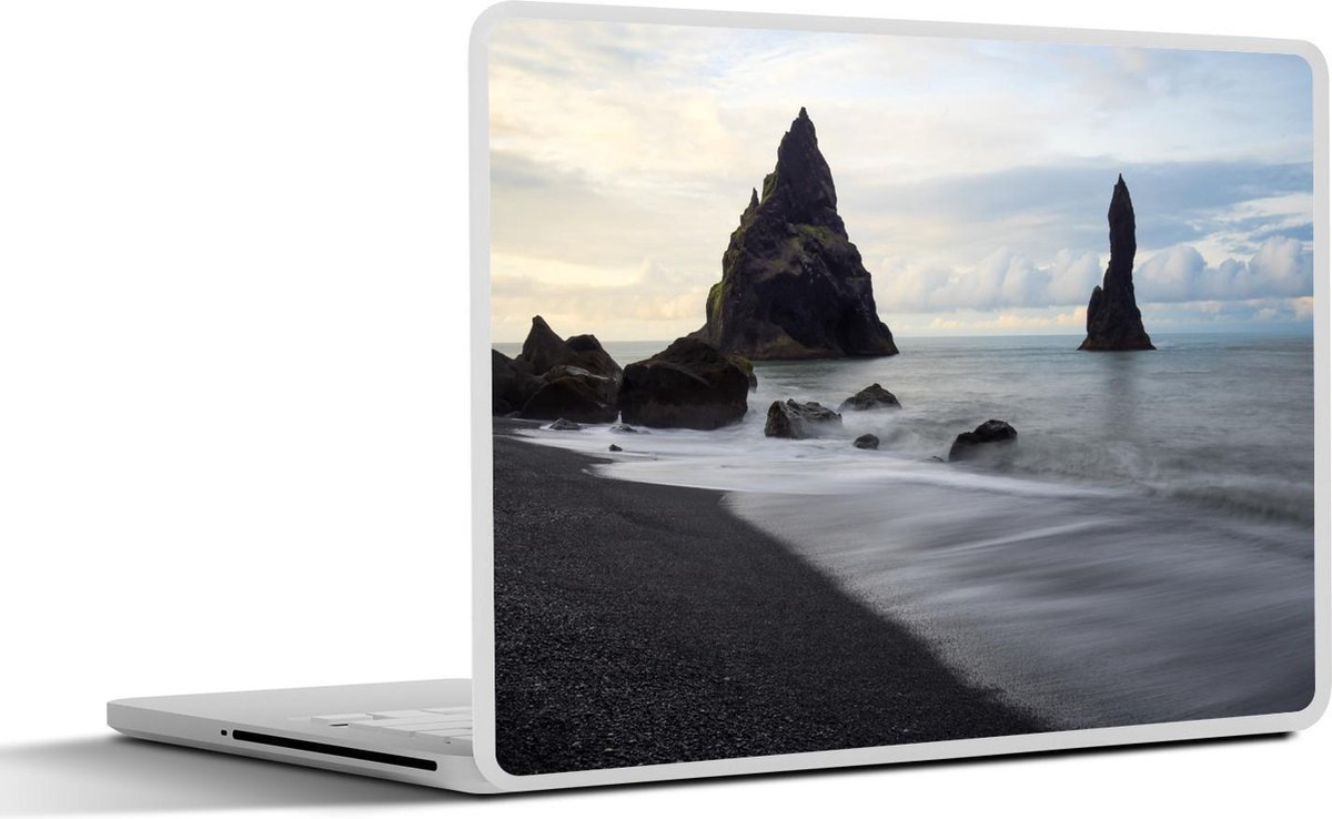 Laptop sticker - 11.6 inch - Strand - IJsland - Zwart