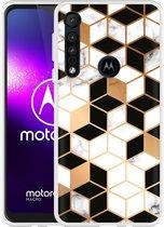 Motorola One Macro Hoesje Black-white-gold Marble