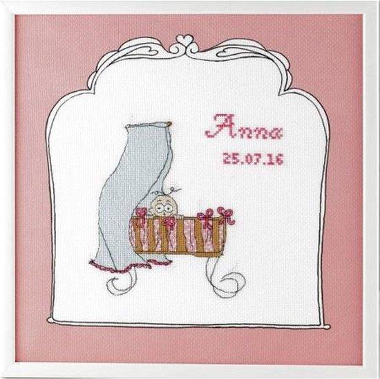 Borduurpakket Geboortetegel wieg: Anna