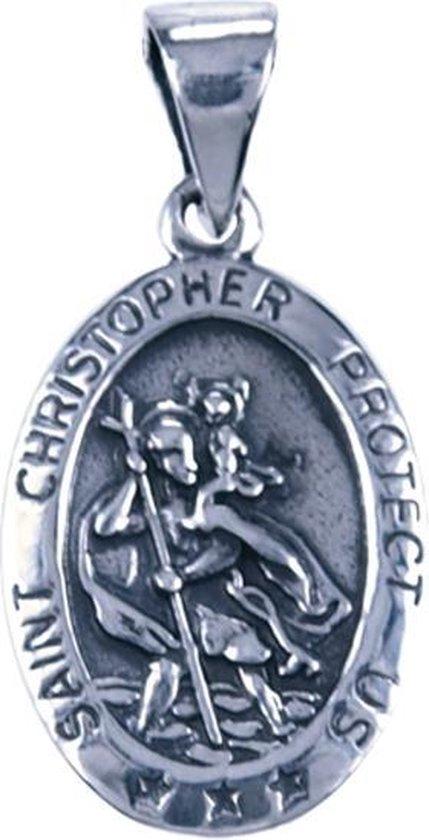 Zilveren Heilige Christoffel ketting hanger - ovaal