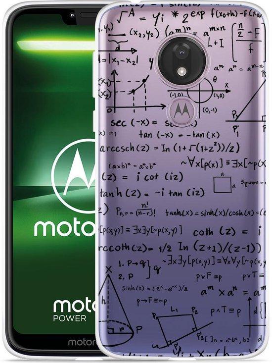 Moto G7 Power Hoesje Wiskunde zwart