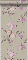 ESTAhome behang kersenbloesems taupe en lila paars - 148717