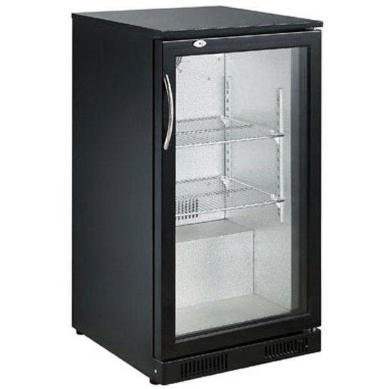 Koelkast: Horeca bar glasdeur koelkast   93 liter   500(b) x 500(d) x 900(h) mm   Zwart, van het merk Combisteel