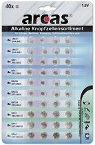 Arcas Alkaline knoopcelbatterijen 0% HG, 40 stuks