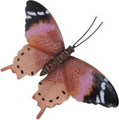 Tuin/schutting decoratie roestbruin/roze vlinder 44 cm - Tuin/schutting/schuur versiering/docoratie - Metalen vlinders