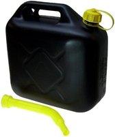 Jerrycan zwart voor brandstof - 10 liter - inclusief schenktuit - o.a. benzine / diesel