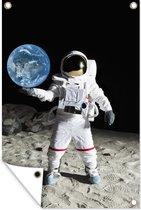 Astronaut in de ruimte houdt de aarde vast 120x180 cm XXL / Groot formaat!