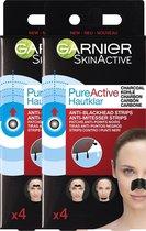 Garnier - SkinActive PureActive Nose strips Charcoal - 2 x 4 Stuks - Tegen mee-eters, verstopte poriën en overtollig talg - Voordeelverpakking
