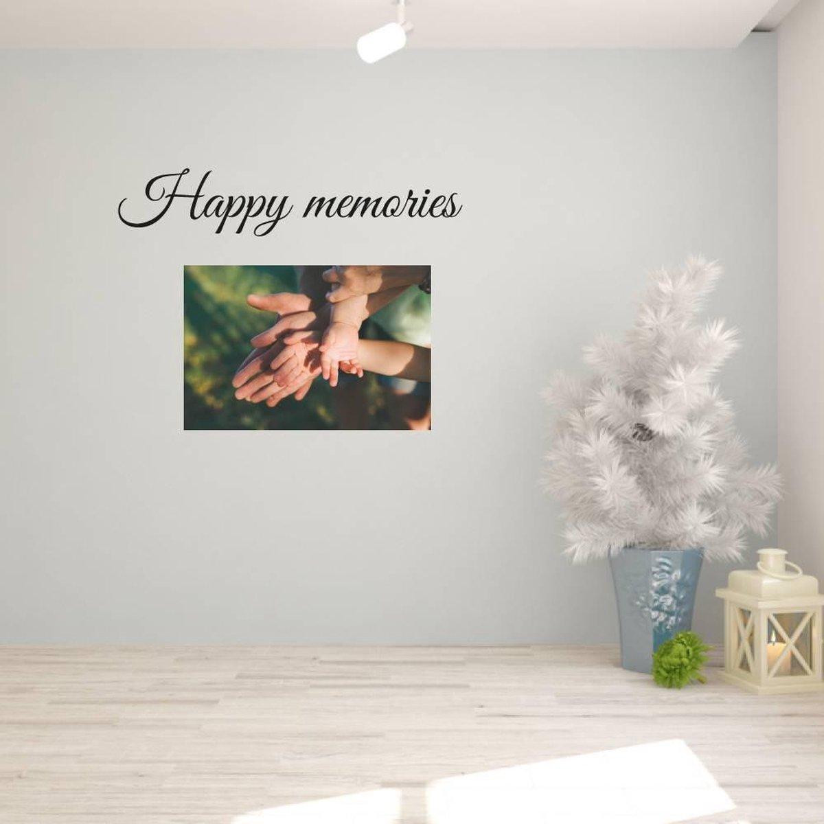 Muursticker Happy Memories -  Rood -  160 x 31 cm  -  engelse teksten  woonkamer   - Muursticker4Sale