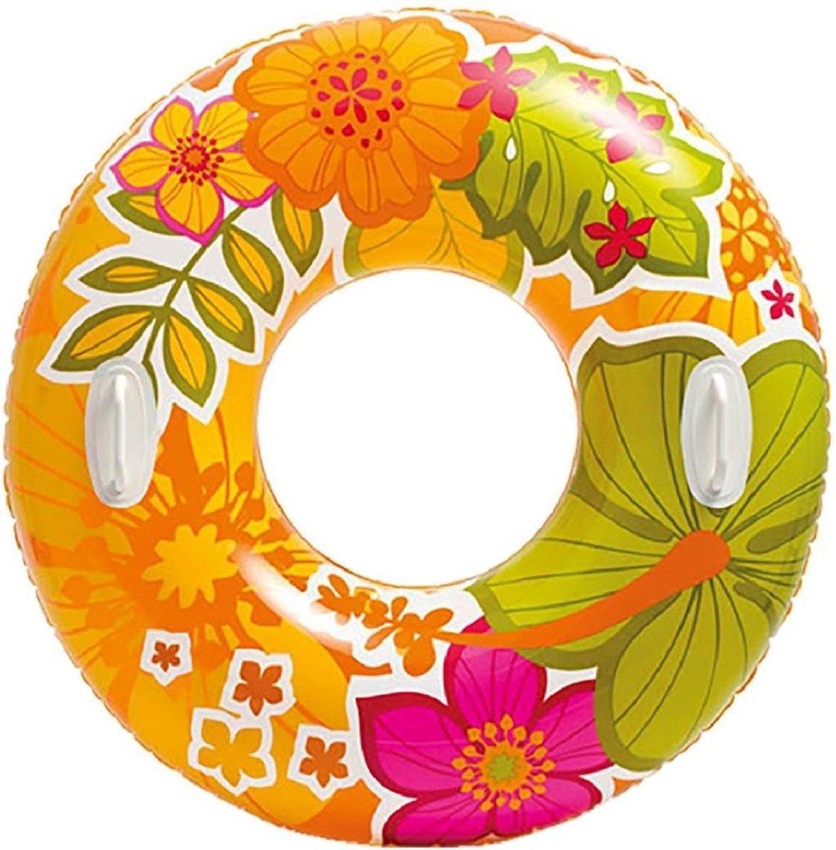 Opblaasbare oranje bloemen zwemband/zwemring 97 cm - Zwembenodigdheden - Zwemringen - Tropisch thema - Bloemen zwembanden voor kinderen en volwassenen