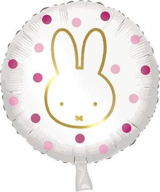 folieballon Nijntje 45 cm wit/roze