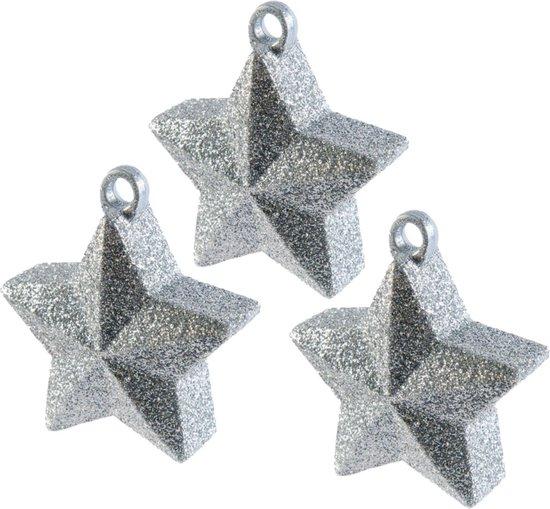 3x stuks ballon gewichtjes zilveren glitter ster