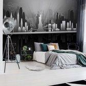 Fotobehang New York City Skyline Black And White | V4 - 254cm x 184cm | 130gr/m2 Vlies
