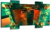 Canvas schilderij Abstract   Blauw, Groen, Rood   120x65 5Luik