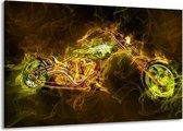Canvas schilderij Motor   Geel, Wit, Groen   140x90cm 1Luik