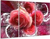 Canvas schilderij Roos | Roze, Paars, Wit | 120x80cm 3Luik