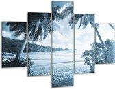 Glas schilderij Zee, Strand | Blauw | 100x70cm 5Luik | Foto print op Glas |  F006485