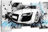 Schilderij   Canvas Schilderij Auto, Audi   Wit, Blauw, Zwart   150x80cm 5Luik   Foto print op Canvas