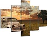 Glasschilderij Auto   Grijs, Geel   100x70cm 5Luik   Foto print op Glas    F001192