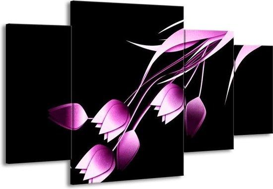 Canvas schilderij Tulp | Zwart, Paars, Wit | 160x90cm 4Luik