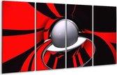 Glasschilderij Abstract | Rood, Zwart, Grijs | 160x80cm 4Luik | Foto print op Glas |  F003385