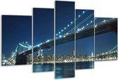 Glasschilderij Brug | Grijs, Blauw, Wit | 170x100cm 5Luik | Foto print op Glas |  F002850