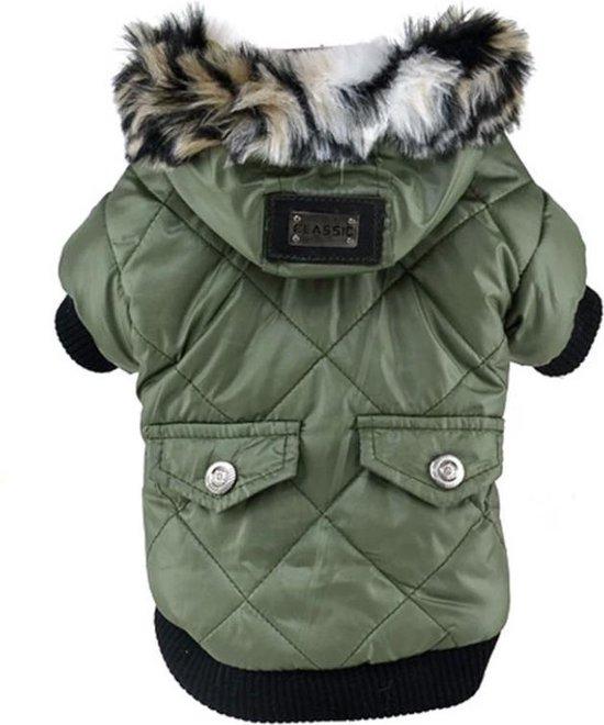 Honden jas - Winterjas voor honden - Winter jas - Gevoerde hondenjas met capuchon - Maat S - Groen